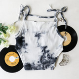 -White and Grey Tie Dye -Ribbed -Strap Across Chest -Tied Spaghetti Straps (Adjustable) -High Cut on Sides -Fabric Stretches -One Size Fits All -Crop Top  Materials: 65% Polyester | 30% Cotton | 5% Spandex  CT5988 CROP BLK ONE SIZE