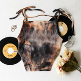 -Dark Brown and Tan Tie Dye -Ribbed -Strap Across Chest -Tied Spaghetti Straps (Adjustable) -High Cut on Sides -Fabric Stretches -One Size Fits All -Crop Top  Materials: 65% Polyester | 30% Cotton | 5% Spandex  CT5988 CROP TAN ONE SIZE