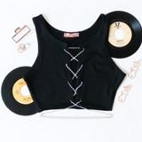 -Black Color -Open Down Front -Diamond Lace Straps -Fabric Stretches -Crop Top  Materials: 90% Cotton | 10% Elastane  EA0003 CROP BLKLU