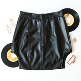 -Black Color -Belt Loops -High Rise Fit -Vertical Stitching Down Front -High Cut on Sides -Button and Zipper Closure -Lined -Skirt  Materials: 100% Polyurethane   FA000156 SKIRT LETH