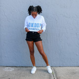 -White and Baby Blue Color -Long Sleeve -Hoodie -Drawstring -Cropped  Materials: 65% Cotton | 35% Polyester   EA000492 HOOD LOND
