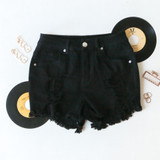 -Black Color -Distressed -Raw Hem -Pockets -Belt Loops -Zipper and Button Closure -Front and Back Pockets -Shorts  Materials: 73% Cotton | 14% Rayon | 11% Polyester | 2% Spandex  055624 SHORT BLKD