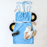 -Baby Blue Color -Halter Straps -Ruched Keyhole Cut -Fabric Stretches -Set (Top) -All Straps Are Adjustable -Crop Top  Materials: 35% Polyester | 65% Cotton  DA000073 CROP BLU
