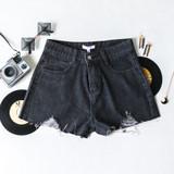 -Dark Wash Denim -Belt Loops -Front & Back Pockets -Raw Hem -Distressed -Shorts  CP5767 SHORT DKD