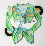 -Green, Blue, and Orange Groovy Print -Ties in Front -Sheer Material -Raw Hem -Long Sleeve -Bell Sleeves -Two Piece Set (Top) -Crop Top  Materials: 95% Polyester | 5% Spandex  A49998 TOP GRNBLU