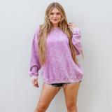 -Purple Acid Wash -Crew Neck -Super Soft Material -Fleece Lined -Long Sleeve -Oversized Fit -Sweatshirt  Materials: 60% Cotton | 40% Polyester  DZ21F919 SWTR PRP