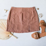 -Tan Color -High Waisted -Slit on Side -Zipper on Side -Lined -Vertical Stitching  -Skirt  Materials 100% Cotton  HF22A808 SKIRT TAN