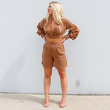 -Tan Color -Blazer Collar -Criss Cross in Front -Long Sleeve -Two Piece Set (Top) -Long Sleeve -Bell Sleeves -Zipper on Side -Crop Top  Materials: 100% Cotton  HF22A865 TOP TAN