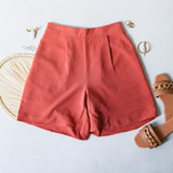 -Mauve Color -Lightweight Cloth Material -Elastic Waistband -Pockets -Bermuda Length -Zipper Closure -Two Piece Set - Bottoms -Pleated -Lined -Shorts  Materials: 100% Cotton  HF22A865 SHORT RED