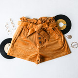-Mustard Yellow Color -Corduroy Pattern -High Waisted -5 Buttons Up Front -Front Pockets -Paperbag Top -Shorts  Materials: 97% Cotton | 3% Cotton  P6014 SHORT YEL