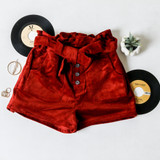 -Rust Red Color -Corduroy Pattern -High Waisted -5 Buttons Up Front -Front Pockets -Paperbag Top -Shorts  Materials: 97% Cotton | 3% Cotton  P6014 SHORT RST