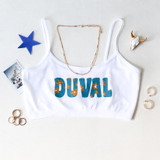 -White, Teal, and Gold Colors -Floral Duval Design -Spagetti Straps -Elastic Waistband -Fabric Stretches -Tank Top -Crop Top  Materials: 92% Nylon | 8% Spandex  GAMEDAY 2021 JAGSFLWR WHT ONE SIZE