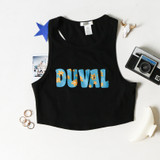 -Black, Teal, and Gold Colors -Floral Duval Design -Racerback  -Thick Straps -Fabric Stretches -Tank Top -Crop Top  Materials: 95% Cotton | 5% Spandex  RT52643 BLK