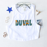 -White, Teal, and Gold Colors -Trippy Duval Design -Racerback  -Thick Straps -Fabric Stretches -Tank Top -Crop Top  Materials: 95% Cotton | 5% Spandex  RT52643 WHT TRIPPY