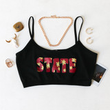 -Black, Garnet, and Gold Colors -Floral State Design -Spagetti Straps -Elastic Waistband -Fabric Stretches -Tank Top -Crop Top  Materials: 92% Nylon   8% Spandex  GAMEDAY 2021 FSUFLWR BLK ONE SIZE
