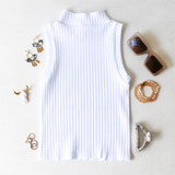 -White Color -Ribbed Material -Turtleneck  -Sleeveless -Fabric Stretches -Tank Top  Materials: 92% Nylon   8% Spandex  776 TANK WHT ONE SIZE