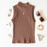 -Brown Color -Ribbed Material -Turtleneck  -Sleeveless -Fabric Stretches -Tank Top  Materials: 92% Nylon   8% Spandex  776 TANK TAN ONE SIZE