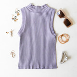 -Lilac Color -Ribbed Material -Turtleneck  -Sleeveless -Fabric Stretches -Tank Top  Materials: 92% Nylon   8% Spandex  776 TANK PRP ONE SIZE
