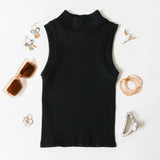 -Black Color -Ribbed Material -Turtleneck  -Sleeveless -Fabric Stretches -Tank Top  Materials: 92% Nylon   8% Spandex  776 TANK BLK ONE SIZE