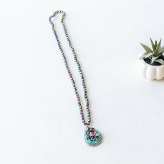 -Multi-Color Beads -Turquoise Pendant Charm -Mid Torso Length