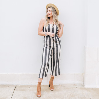 - Comes In Two Colors  - Stripe Print  - Button Detail - Button Adjustable Straps - Elastic Band Around Back and Waist  - Fabric Does Not Stretch - Lined  Model is Wearing a Size Small  Material Content: 100% Cotton  J4365 JUMPR