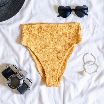 -Yellow  -Cheeky  -High-Waisted  -High Leg     Model is Wearing Size Small    Material:  100%  Cotton     SWIM BOT YEL