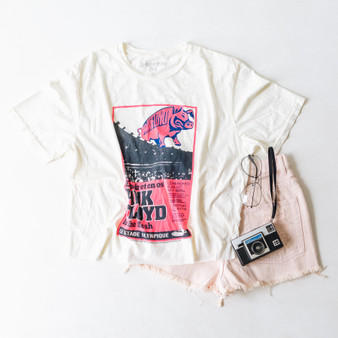 "-Ivory -Pink Floyd Concert Tee -Neon Pink and Black Print -Short Sleeve -Cropped -T-Shirt  Material: 100% Cotton  Clothing Measurements: Bust: 22.5"" Length: 21"" Sleeve Length: 9"""