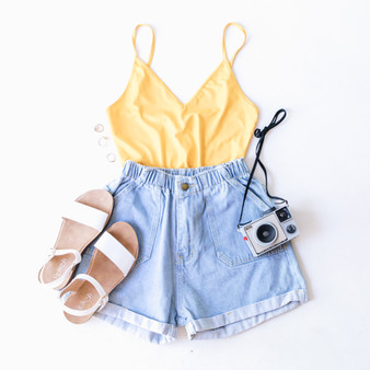 -Mustard Sheer Crop  -Spaghetti Straps  -Adjustable Straps  -V-Neck  -Fabric Stretches  -Unlined     96% Polyester  4% Spandex     K463 TANK YEL