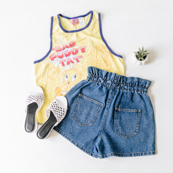 """-Yellow -Tweety Bird Graphic -Wide Eraser Back -Full Length -Tank  Size X-Large  Material: 100% Cotton  Clothing Measurements: Bust: 20"""" Length: 26"""" Strap Width: 2"""""""