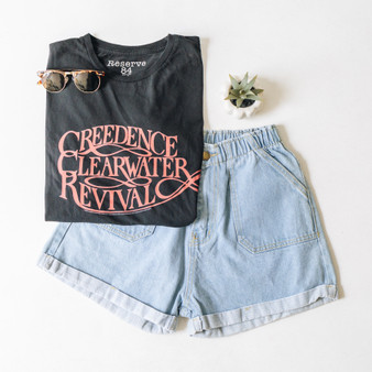 """-Black -Creedence Clearwater Revival -Red Text -Short Sleeve -Cropped -T-Shirt  Material: 100% Cotton  Clothing Measurements: Bust: 20"""" Length: 18"""" Sleeve Length: 8"""""""