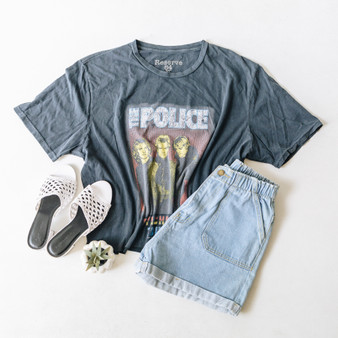 "-Faded Black -The Police Tour Graphic -Short Sleeve -Distressed -Cropped -T-Shirt  Size: X-Large  Material: 100% Cotton  Clothing Measurements: Bust: 24"" Length: 22"" Sleeve Length: 9.5"""