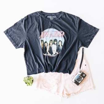 """-Black -Bon Jovi Graphic on Front -T-Shirt -Short Sleeve -Cropped -T-Shirt Material: 100% Cotton  Clothing Measurements: Bust: 23"""" Length: 19"""" Sleeve Length: 9"""""""