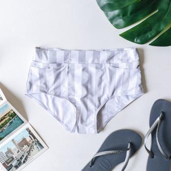 -Gray -White Stripe -Mid-High Waist -Full Coverage -Swim -Bottoms -Set Model is Wearing Size Medium  SWIM BOT GRSTRP