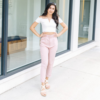 -Pink -High-Waisted -Tapered -Pants -Pockets -Belted -Unlined -Comes in 3 Colors  Model is Wearing Size  Material: 100% Polyester  P11585 PANT PNK