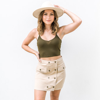 -Dark Olive -Rubbed -Spaghetti Strap -V-Neck -Tank -Comes in 4 Colors  Model is Wearing Size Small  Material: 60% Cotton 40% Polyester  RT32671 CROP DKOLIVE