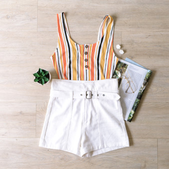 -Yellow -Striped -Waffle Fabric -Scoop Neck -Buttons -Tank -Bodysuit -Comes in 2 Colors -Unlined   Model is Wearing Size Small  Material: 91% Rayon 7% Polyester 2% Spandex  3447RY BSUIT YELS