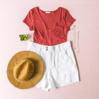 -Brick Red -Ribbed -V-Neck -Buttons -Short Sleeve -Comes in 3 Colors   Model is Wearing Size Small  Material: 75% Cotton 20% Polyester 5% Spandex  TT1013 BSUIT RST