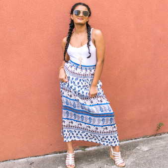 -Blue and White -Paisley Print -Maxi -Skirt -Lined  Model is Wearing Size Small  Material: Shelf: 100% Rayon Lining: 100% Polyester  S2670 SKIRT BOHO