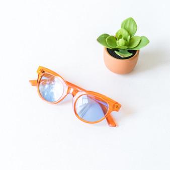 -Orange Frames -Blue Lenses -Wayfarer -Sunglasses -Light Lens