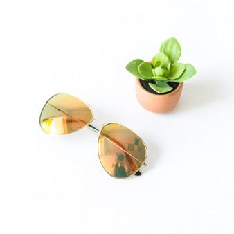 -Clear Frames -Sunset Mirror Lens -Wayfarer -Sunglasses -Gray Medium Lens