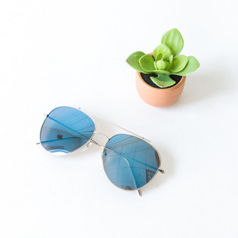 -Silver Frames -Blue Mirror Lens -Aviator -Sunglasses -Gray Medium Lens