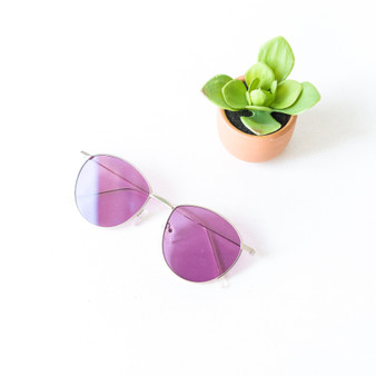 -Silver Frames -Purple Lens -Round -Sunglasses -Light Lens