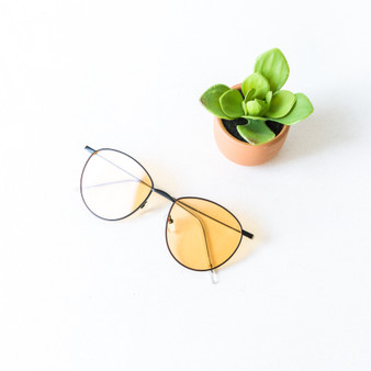 -Black Frames -Yellow Lens -Round -Sunglasses -Light Lens