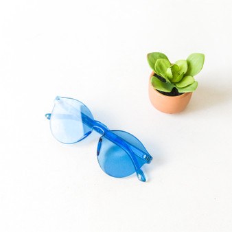 -Blue -Round -Sunglasses -Medium Lens