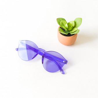 -Purple -Round -Sunglasses -Medium Lens