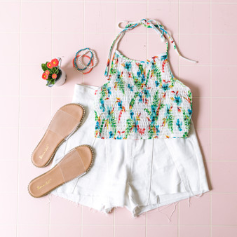 -White -Floral -Smocked -Ties -Halter -Stretches  Model is Wearing Size Small  Material: 97% Polyester 3% Spandex  WN4842F566 TANK MNTF