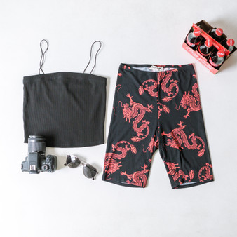 -Black -Red Dragon Print -Biker Shorts -Unlined   Model is Wearing Size Small  Material: 95% Polyester 5% Spandex   P2335 SHORT DGON