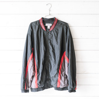 "-Black -Red and Gray Details -Zipper -Pockets -Windbreaker -Jacket Size: X-Large Material: 65% Polyester 35% Cotton Clothing Measurements: Bust:26"" Length: 31"" Sleeve Length: 31"""