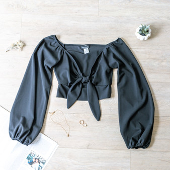 -Black -Peasant Sleeve -Long Sleeve -Front Tie -Crop -Comes in 3 Colors  Material: 96% Polyester 4% Spandex  4859 TOP BLK
