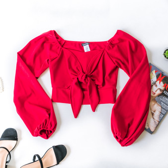 -Red -Peasant Sleeve -Long Sleeve -Front Tie -Crop -Comes in 3 Colors  Material: 96% Polyester 4% Spandex  4859 TOP RED